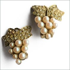 Grapevine Rhinestone and Faux Pearl Clip-ons
