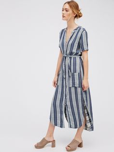 Jet Set Maxi | So comfy cotton maxi with an ultra relaxed feel and effortless fit. Cute striped outer with a pretty plaid inner. Front button closures and large pocket details. Adjustable tie at the waist. Dramatic side vents. American made.