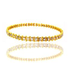 Solid 14k Yellow Gold Studded Natural 5.72ct Diamond Bangle Wedding Fine Jewelry #Handmade #Bangle