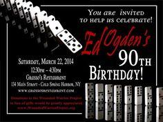 DOminoe themed Birthday party invitations by WilsonPhotoAndDesign, $16.00: 70th Birthday Invitations, 75th Birthday, Man Birthday, 50th Party, Birthday Party Themes, Birthday Cards, Birthday Ideas, Party Games, Ideas Party