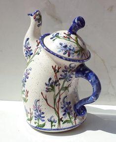 Your place to buy and sell all things handmade Sassy Bluebonnet Teapot Pottery Teapots, Ceramic Teapots, Keramik Design, Teapots Unique, Vintage Teapots, Disneyland Halloween, Teapots And Cups, Housewarming Party, Blue Bonnets