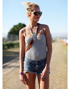 It doesn't get much better than the classic combo of Breton stripes and denim.    Read more: Coachella Fashion 2011 - Coachella 2011 Fashion and Style Pictures - Harper's BAZAAR