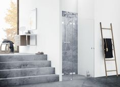 With AIR shower solutions Dansani have merged extreme minimalism and strict simplicity to create the perfect illusion of showering unscreened, Furniture, Room, Bathroom Furniture, Minimalism, Home Decor, Danish Design, Bathroom, Furnishings, Furniture Design