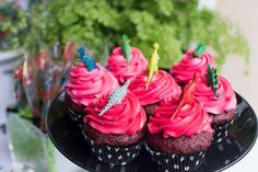Cupcakes from a Two-A-Saurus Dinosaur Garden Party via Kara's Party Ideas | KarasPartyIdeas.com | The Place for All Things Party! (15)