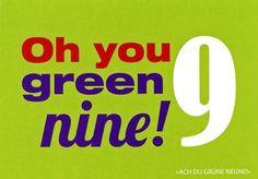 """Postkarte mit lustigen Sprüchen – Oh you green nine! - """"Ach du grüne neune!"""" Postkarten Lustige Sprüche"""