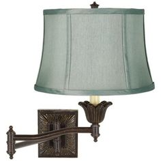 Spa Blue Shade Bronze Plug-In Swing Arm Wall Lamp - bedside