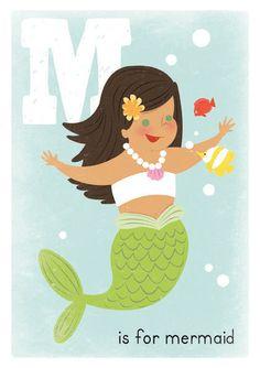 Mermaid Girls Art 5x7 Print $10
