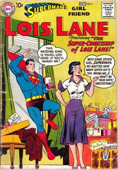 50s style dress with big purple french cuffs and purple collar pendant with a purple skirt. In this situation, Lois stand on women side an remain indifferent to Superman courtship, that overwhelms her with expensive gift. Well-tuned to the situation, she's wearing a French style dress, perhaps because Paris is the capital of luxury?