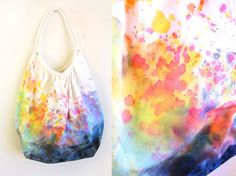 Splash Dyed Hand PAINTED Slouchy Cotton Canvas Hobo Tote Bag in White Spectrum Rainbow  - I need to learn how to do this.. so pretty!