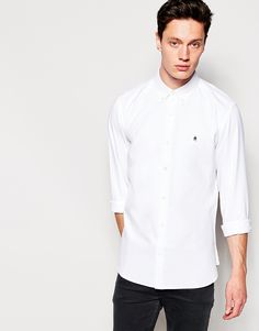 """Shirt by French Connection Breathable cotton-mix Fastened collar Button placket Embroidered logo Regular fit - true to size Machine wash 52% Polyester, 48% Cotton Our model wears a size Medium and is 187cm/6'1.5"""" tall"""