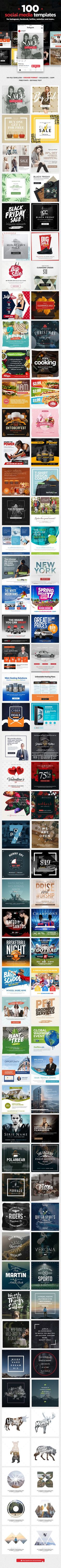 100 #Social Media #Templates - Social Media Web Elements Download here: https://graphicriver.net/item/100-social-media-templates/19475656?ref=alena994 Grow your business on automatically