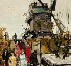 This is a painting that is made by Vincent van Gogh. He was a famous dutch painter back in the days. In this painting you can see a typical dutch object, a mill (molen in dutch).