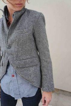 Grey jacket...turned up collar