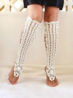 Calentadores de la pierna del ganchillo zapatos nude sexy