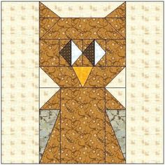 ALL STITCHES - OWL PAPER PIECING QUILT BLOCK PATTERN .PDF -083A | AllStitches - Patterns on ArtFire