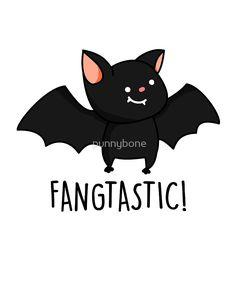 'Fangtastic Halloween Pun' Sticker by punnybone Cute Jokes, Cute Puns, Funny Cute, Halloween Puns, Halloween Quotes, Cute Halloween Drawings, Happy Halloween, Punny Puns, Animal Puns