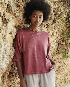 Poetry - Hemp and cotton jersey top - This garment washed, hemp and cotton top is generously styled with a relaxed boxy fit. The three-quarter length, dolman sleeves have a fixed turned back cuff and the curved hemline is slightly longer at the back. 55% hemp 45% cotton