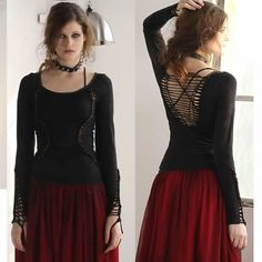 Sexy Women Black Long Sleeve Braided Low Cut Back Gothic Boho Tops SKU-11409280