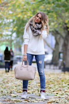 Casual — jeans, tennis shoes, sweater, scarf