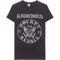 MadeWorn The Ramones Studded Rocket To Russia // Cotton band T-shirt... ($405) ❤ liked on Polyvore featuring tops, t-shirts, pattern t shirt, crew-neck tee, cotton tee, print tees and crewneck tee