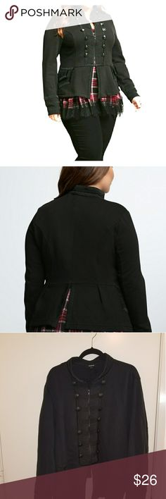 Zip Front Military Jacket TORRID This is a black military jacket size 4 Torrid. While the style may be all structure, the knit fabric keeps you in your comfort zone. With tonal buttons and textured trim framing the zip front, sleeves, and back. A split back adds some flare. In great condition. There is one lose button on the right side but still on & one button missing 4th down on the right. It is a zipper jacket so buttons are just decorative. torrid Jackets & Coats Utility Jackets