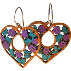 Chimayo Heart and Butterfly Earrings  #VintageBeginsHere at www.rubylane.com @rubylanecom #vintagejewelry