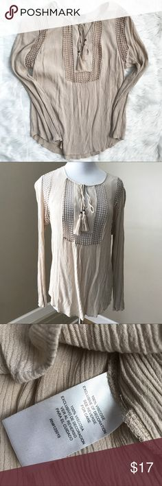 """Joseph A. Tan Lace Flowy Bohemian Top Shirt Joseph A. Tan Lace Flowy Bohemian Top Shirt. Size medium. Tassel tie. Lace panels are see through. 40"""" bust. 37"""" waist. 25"""" long. Very good condition. Joseph A. Tops"""