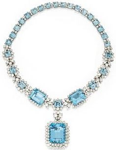 H & D Diamonds is your direct contact to diamond trade suppliers, a Bond Street jeweller and a team of designers. Tel: 0845 600 5557 - A platinum, diamond and aquamarine necklace by Van Cleef & Arpels, circa Aquamarine Pendant, Aquamarine Necklace, Diamond Pendant Necklace, Diamond Jewelry, Diamond Necklaces, Diamond Rings, Van Cleef Arpels, Van Cleef And Arpels Jewelry, Jewelry Box