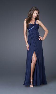 dark blue, navy blue, one strap, sweetheart, leg showing