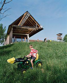 German a X Architekten designed the Yug House, it is a creative reinterpretation of a former barn.