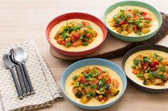 Smoky Shrimp & Creamy Cheddar Grits with Corn, Zucchini & Cherry Tomatoes-Blue Apron