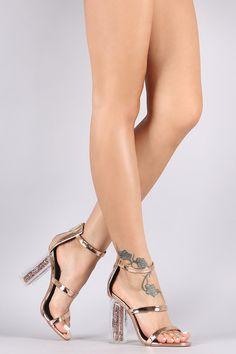 Metallic Triple Straps Chunky Perspex Glitter Heel
