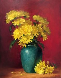 "Daily Paintworks - ""Yellow Flowers in Green Vase Framed Oil Painting"" - Original Fine Art for Sale - © Yana Golikova"