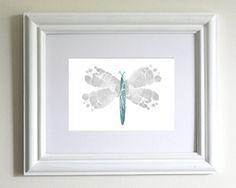 baby footprint crafts | Nursery Decor Baby Footprint Dragonfly by PitterPatterPrint, $24.00