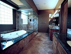 Dark granite tops and amazing bathroom