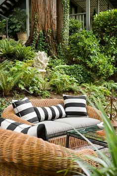 wicker seating area