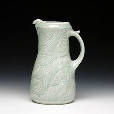 carved porcelain with light celadon by Masayuki Miyajima