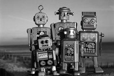 Vintage Russian toy robot family