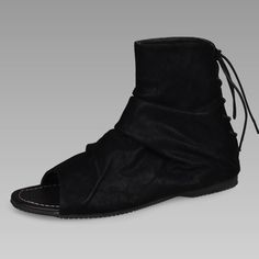 Men Black Cowhide Leather Fashion Goth Punk Gladiator Sandal Boots SKU-1280693
