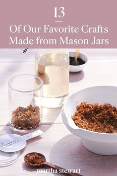 From educational to luxurious self-care, our mason glass jar craft ideas are the perfect way to spend your afternoon or to even make as a handmade gift for the holiday season. #marthastewart #crafts #diyideas #easycrafts #tutorials #hobby Fairy Lights In A Jar, Jar Lights, Crafts With Glass Jars, Jar Crafts, Crafty Projects, Easy Projects, Recycled Jars, Pet Paws, Upcycled Crafts