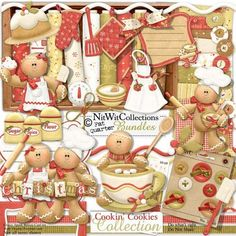 Digital scrapbooking cute gingerbread man and card making cute gingerbread man kit. Happily baking a large family! FQB - Cookin' Cookies Collection