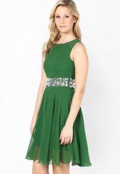 Green Embellished Skater Dress