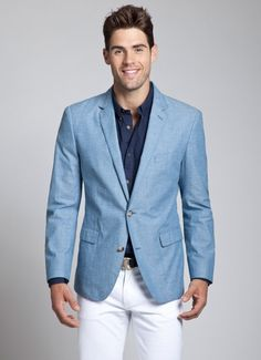 The Chamberlain - Chambray Blazer Blue Blazer Outfit, Chambray Blazer, Blazer Outfits Men, Suit Fashion, Look Fashion, Mens Fashion, Fall Fashion, Light Blue Blazers, Men Style Tips