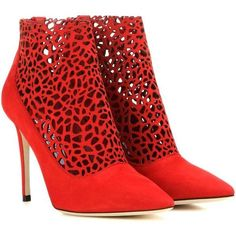Jimmy Choo Maurice 100 Cut-Out Suede Ankle Boots ($1,045) ❤ liked on Polyvore featuring shoes, boots, ankle booties, red, cut out booties, short boots, red suede booties, red ankle boots and red booties
