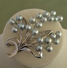 """EXQUISITE Japanese Akoya Cultured Pearls & Sterling X-LARGE 2.95"""" Brooch / Pendant !"""