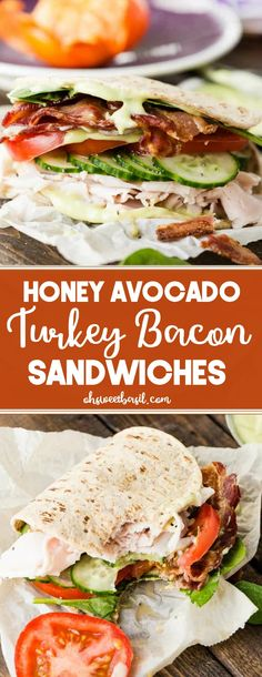 Healthy Recipes : Illustration Description These Honey Avocado Turkey Bacon Sandwiches are my daily lunch lately, so for anyone needing healthy lunch ideas, this is it! And the best part? Flatbread Sandwiches, Healthy Sandwiches, Sandwiches For Lunch, Turkey Sandwiches, Sandwich Ideas, Wrap Sandwiches, Bacon Sandwich Recipes, Turkey Bacon Recipes, Bacon Recipes For Lunch