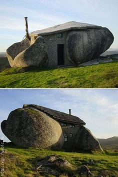 Stone house, Fafe, Portugal - I've heard of being between a rock and a hard place; makes an interesting house