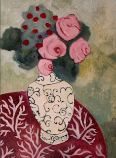 "Daily Painters Abstract Gallery: Contemporary Abstract Still Life Flower Art Painting ""Saint Germain #1"" by Santa Fe Artist Annie O'Brien Gonzales"