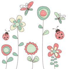 Wild Garden Clipart set - Flowers, Butterflies & Ladybugs - Great for Scrapbooking, Cardmaking and Paper Crafts.