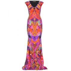 Roberto Cavalli Floral-Print Long Stretch Dress ($1,756) ❤ liked on Polyvore